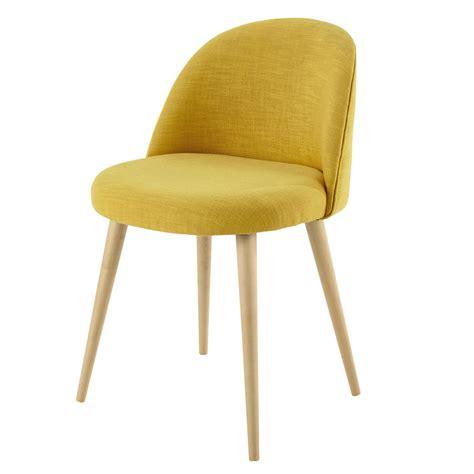 chaise vintage en tissu jaune mauricette maisons du monde