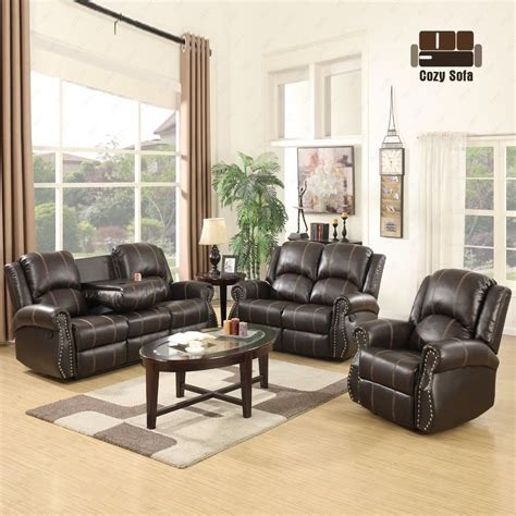 gold thread 3 2 1 sofa set loveseat recliner leather living room brown ebay