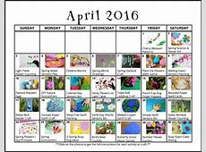 April Activities for Kids Free Monthly Play Calendar