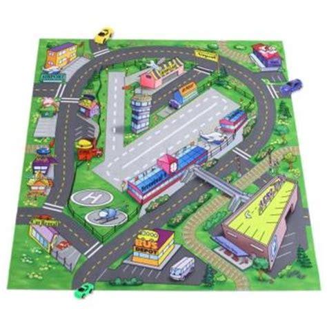 tapis de jeu route pour enfant et 6 petits voitures jeu de petites voitures achat prix fnac