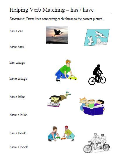Kindergarten Verb Worksheet Match Kindergarten Best Free Printable Worksheets
