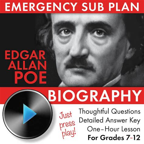 Edgar Allan Poe Biography, Easy Video Lesson, Sub Plan