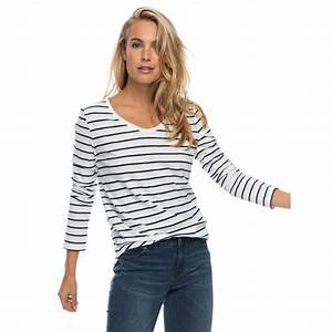 Womens Just Simple Stripe Long Sleeve T Shirt ERJZT04014 ...