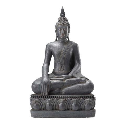 statue bouddha assis en r 233 sine grise h 150 cm maisons du monde