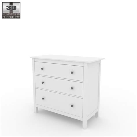 hemnes dresser 3 drawer assembly ikea hemnes chest of 3 drawers 3d model hum3d