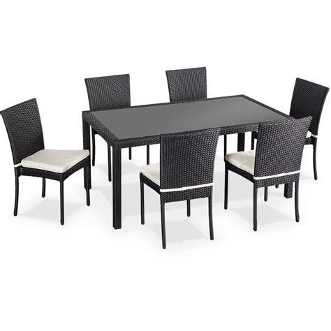 salon de jardin en r 233 sine tress 233 e 6 chaises noir table d ext 233 rieur design wk160r6bk jardin