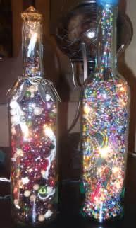 decorative wine bottles with lights inside i made