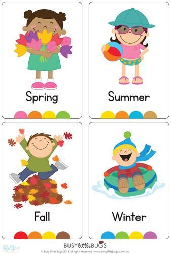Seasons Flash Cards  Busy Little Bugs