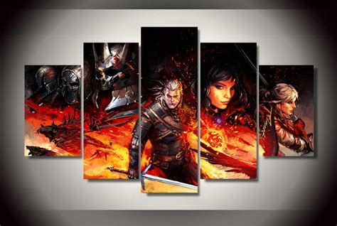 Witcher 3 Home Decorations : The Witcher 3 Gaming 5pc Wall Decor Framed Oil Painting