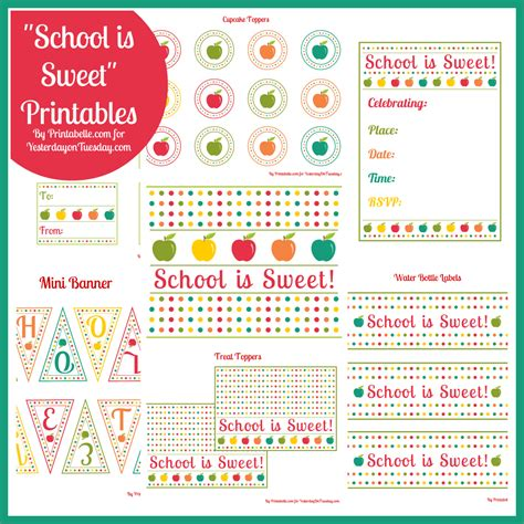 Free Printables School Is Sweet  Yesterday On Tuesday