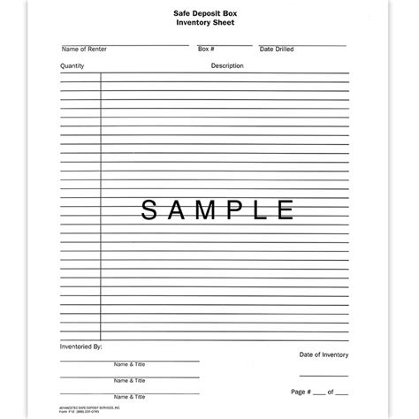 safe deposit box inventory form f12 safe deposit box inventory sheet 8 00 advancetec