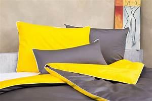 Bettwäsche Grau Weiß Gestreift : bettw sche grau gelb wei aus feinster mako baumwolle ~ Markanthonyermac.com Haus und Dekorationen