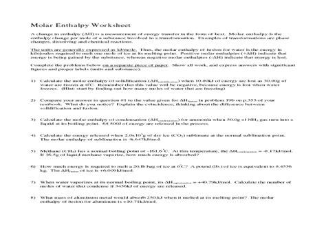 Worksheets Enthalpy  Worksheet Example