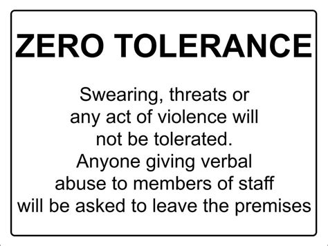 Zero Tolerance Abuse Violance Notice Sign  Aluminium Self. Create Free Html Website What Is It Security. Private Car Sale Receipt Template. Home Theater Design Tool Dell 42u Server Rack. Usc Football Channel Tv Topamax For Headaches. Benefit Concert Press Release. Cornell University Physician Assistant. Methodist Hospital Medical Center Houston Tx. Certified Nurse Anesthetist Schooling