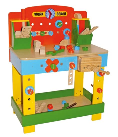 Children's Tobi Wooden Work Bench, Wooden Toy Workbench