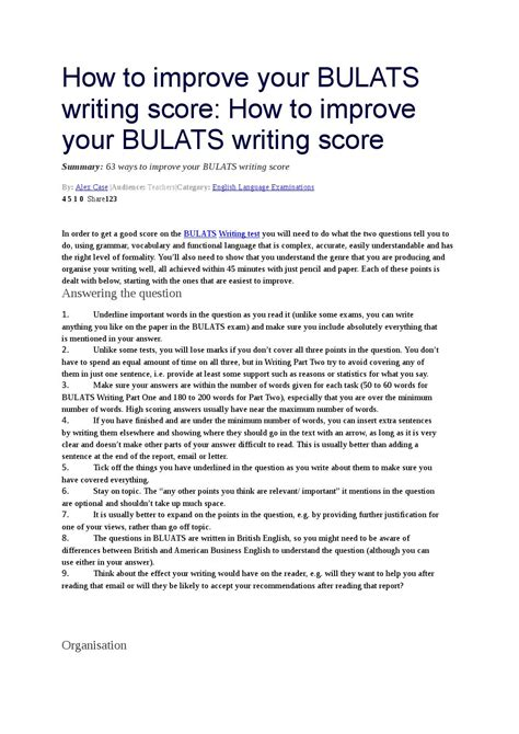 How To Improve Your Bulats Writing Score By Yeliz özçelik Issuu