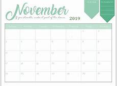 Print Cute 2019 Calendar Template Monthly Calendar Templates