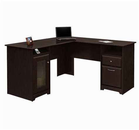 sectional espresso computer desk for small space with