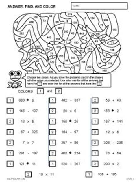 Solve And Color Math Worksheets Worksheets For All  Download And Share Worksheets  Free On