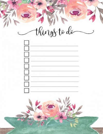 To Do List Template Printable Pinterest by Free Printable Floral Things To Do List Planners