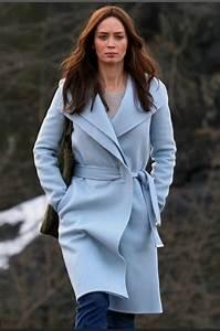 Coat: powder blue coat, girl on the train, emily blunt ...