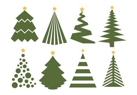 Christmas Tree Vector Set On White Background
