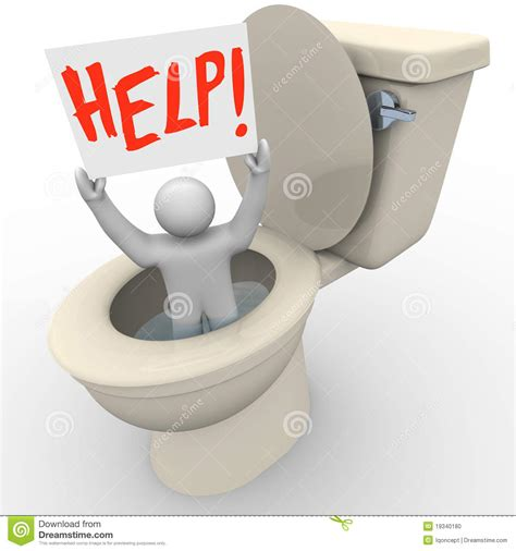 stuck in toilet holding help sign stock photo image 19340180