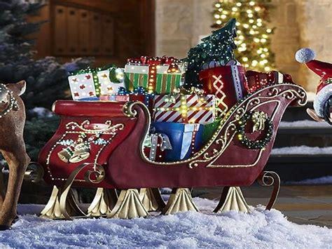 Santa Sleigh Outdoor Decoration by Santa Sleigh And Reindeer Outdoor Decoration Walmart