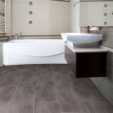 big grey tiles flooring for small bathroom with awesome white bathtub and astounding