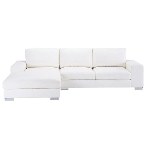 canap 233 d angle 5 places en cuir blanc new york maisons du monde