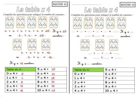 les tables de multiplication ce1 x 2 x 3 x 4 x 5 x 10 la classe des ce de villebois