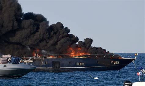 Fire Boat Ibiza by Luxury Yacht Bursts Into Flames At St Tropez Celebrity