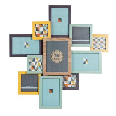 cadre photo 11 vues en bois multicolore 53 x 55 cm vintage corner