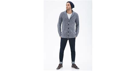 Forever 21 Marled Shawl Collar Elbow Patch Cardigan In Blue For Men