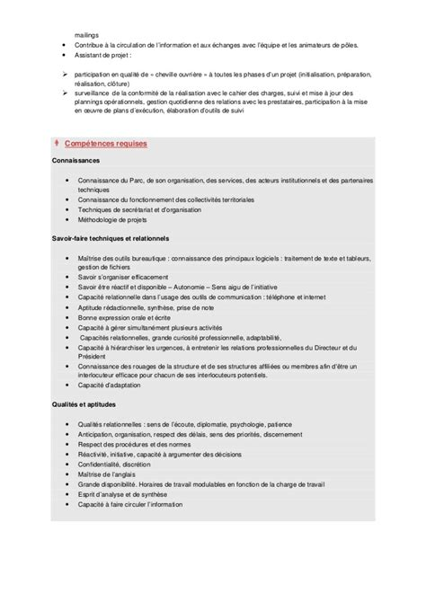 modele fiche de poste secretaire de direction document