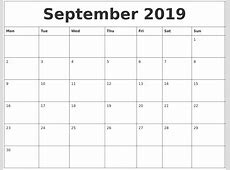 September 2019 Free Printable Monthly Calendar