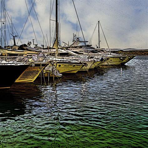 Cartoon Boat Dock by Boat Dock In Croatia Cartoon Art Duvet Cover By