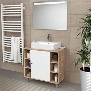 Waschtischunterschrank Hängend Montieren : waschbeckenunterschrank holz braun wei freistehend eiche 60x54x32cm bxhxt ~ Markanthonyermac.com Haus und Dekorationen