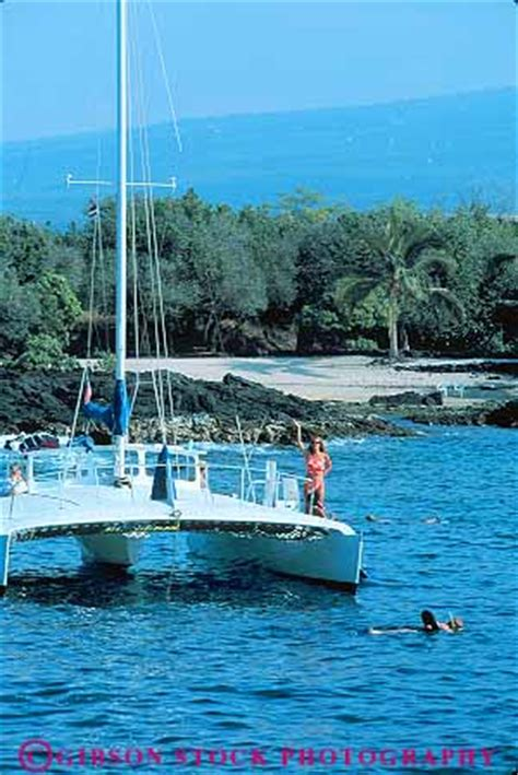 Catamaran Snorkeling Kona Hawaii by People Swim From Catamaran Kailua Kona Big Island Hawaii
