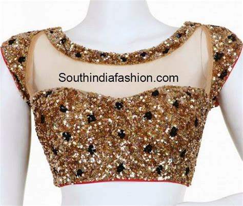 Boat Neck Readymade Blouses Online by Readymade Boat Neck Gold Sequins Blouse South India Fashion