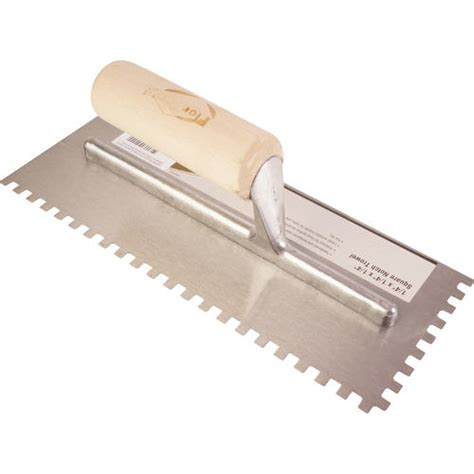 florcraft square notch trowel wooden handle 1 4 quot x 1 4 quot x 1 4 quot at menards 174