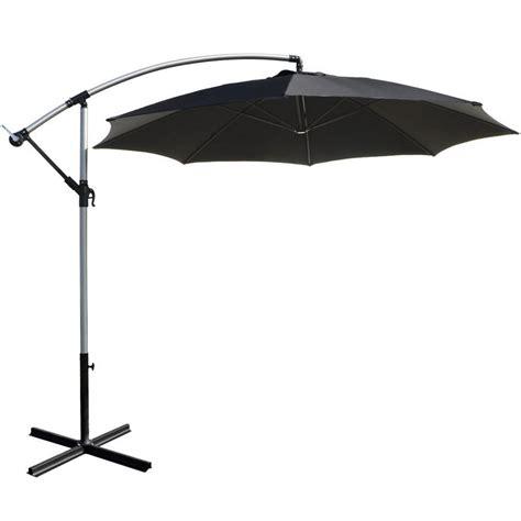 3m black overhanging garden parasol sun shade with crank mechanism