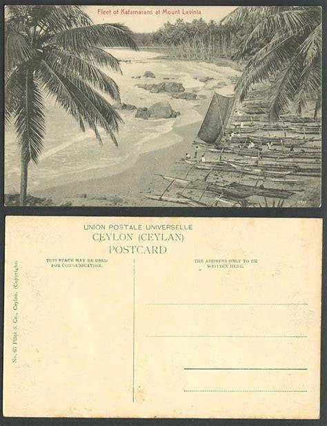 Catamaran Beach Hotel Mount Lavinia by Ceylon Old Postcard Fleet Of Katamaran Boats Mount