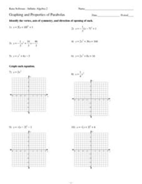Graphing And Properties Of Parabolas 9th  12th Grade Worksheet  Lesson Planet