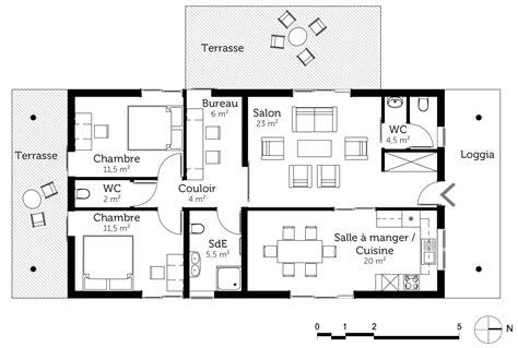 plan maison moderne 224 toit plat de plain pied ooreka