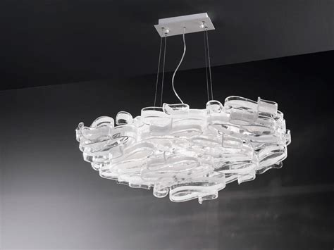 chandelier in glass and lacquered metal for modern villas idfdesign