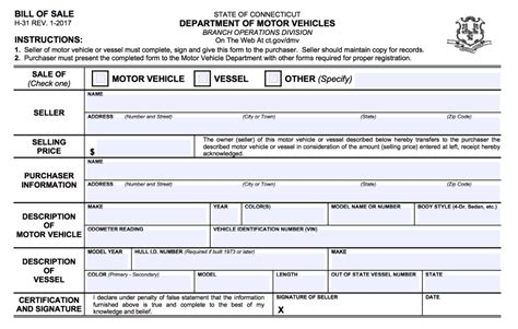 Ct Boat Registration Numbers Rules by Free Connecticut Bill Of Sale Forms Pdf Eforms Free