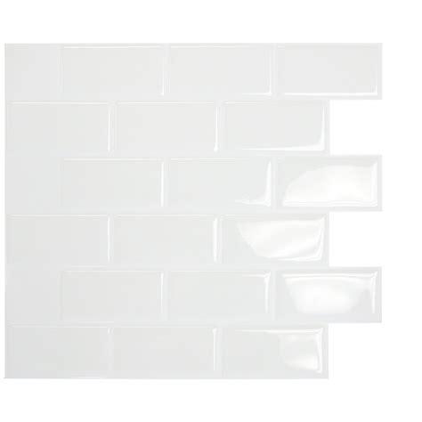 smart tiles mosaik subway white 10 95 quot x 9 70 quot peel stick wall tile in white reviews wayfair