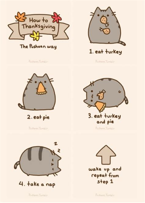 How to Thanksgiving, the Pusheen way!   Bad day , funny mood lifters.   Pinterest   Pusheen