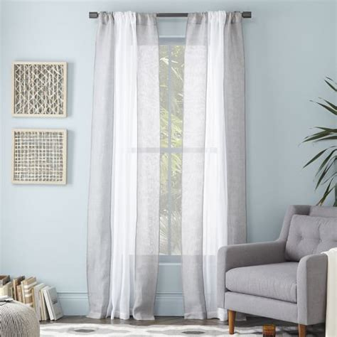 colorblock linen curtain white feather gray west elm